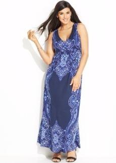 INC International Concepts Plus Size Printed Maxi Dress
