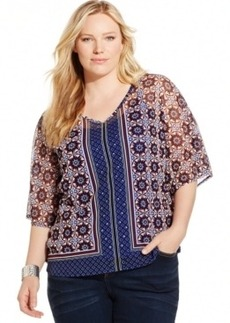 Inc International Concepts Plus Size Printed Poncho Blouse
