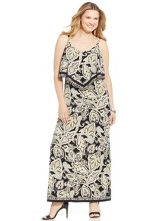 INC International Concepts Plus Size Printed Popover Maxi Dress