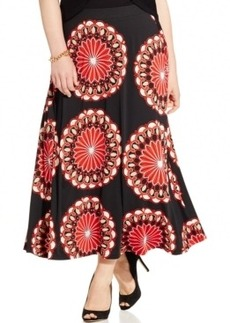 Inc International Concepts Plus Size Printed Pull-On Maxi Skirt