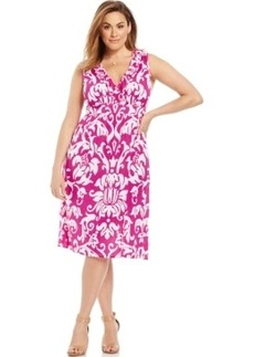 INC International Concepts Plus Size Printed Ruffled A-Line Dress