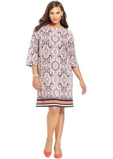 Inc International Concepts Plus Size Printed Shift Dress