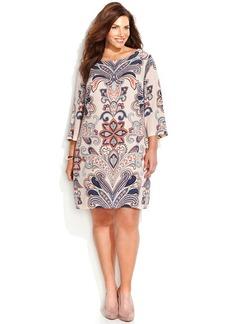 INC International Concepts Plus Size Printed Shift Dress
