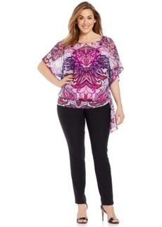 INC International Concepts Plus Size Printed Side-Tie Top
