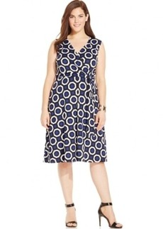 Inc International Concepts Plus Size Printed Side-Tie Wrap Dress