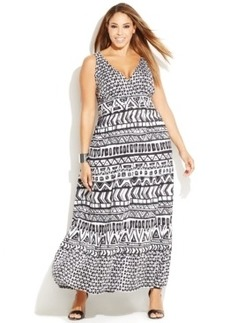 INC International Concepts Plus Size Printed Tiered Maxi Dress