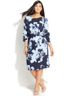 INC International Concepts Plus Size Printed Twist-Front Dress