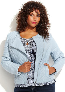 INC International Concepts Plus Size Quilted Faux-Leather Moto Jacket