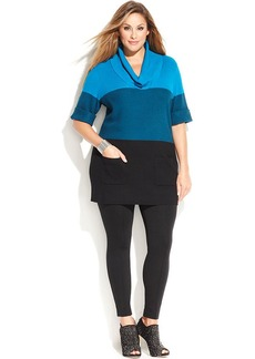 INC International Concepts Plus Size Ribbed-Knit Cowl-Neck Colorblock Sweater