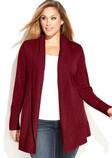 INC International Concepts Plus Size Ribbed-Knit Open-Front Cardigan