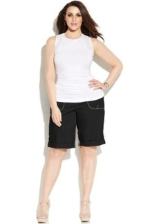 INC International Concepts Plus Size Roll-Tab Shorts