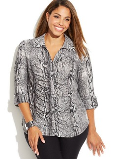 INC International Concepts Plus Size Ruched Animal-Print Button-Front Top