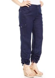 Inc International Concepts Plus Size Ruched Linen Cargo Pants
