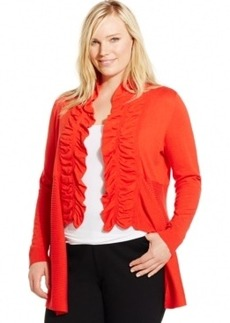 Inc International Concepts Plus Size Ruffled High-Low Cardigan