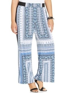 INC International Concepts Plus Size Scarf-Print Wide-Leg Soft Pants