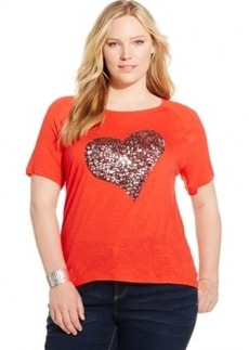 Inc International Concepts Plus Size Sequin Heart Tee