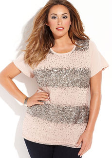 INC International Concepts Plus Size Sequined Cap-Sleeve Tee