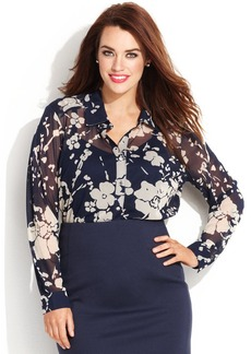 INC International Concepts Plus Size Sheer Floral Button Down Shirt