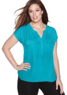 INC International Concepts Plus Size Short-Sleeve Blouse