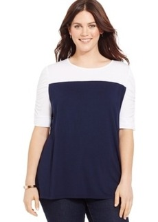 INC International Concepts Plus Size Short-Sleeve Colorblocked Top