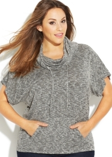 INC International Concepts Plus Size Short-Sleeve Cowl-Neck Sweater