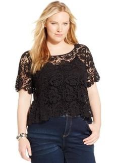 Inc International Concepts Plus Size Short-Sleeve Crochet Top