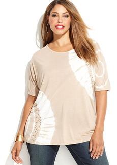 INC International Concepts Plus Size Short-Sleeve Embellished Tie-Dye Tee