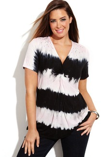INC International Concepts Plus Size Short-Sleeve Embellished Tie-Dye Top
