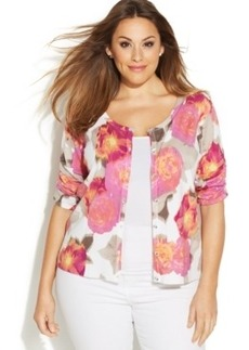 INC International Concepts Plus Size Short-Sleeve Floral-Print Cardigan