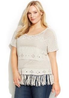 INC International Concepts Plus Size Short-Sleeve Fringed Sweater
