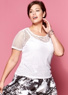 INC International Concepts Plus Size Short-Sleeve Mesh Top