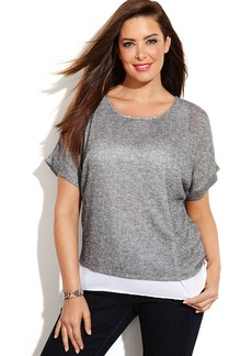 INC International Concepts Plus Size Short-Sleeve Metallic Layered Top