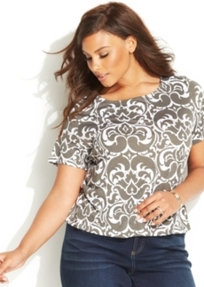 INC International Concepts Plus Size Short-Sleeve Printed Top