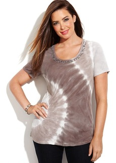 INC International Concepts Plus Size Short-Sleeve Sequined Tie-Dye Top