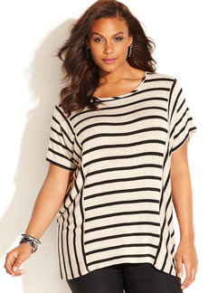 INC International Concepts Plus Size Short-Sleeve Striped Top