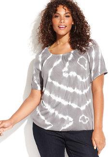 INC International Concepts Plus Size Short-Sleeve Tie-Dye Peasant Top
