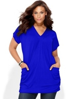 Inc International Concepts Plus Size Short-Sleeve V-Neck Tunic Top