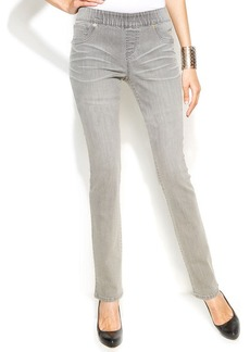 INC International Concepts Plus Size Skinny Pull-On Jeans, Grey Wash
