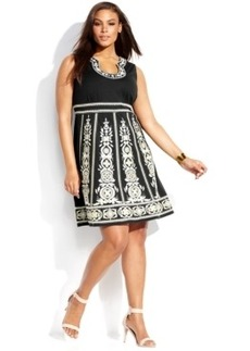 INC International Concepts Plus Size Sleeveless Embroidered A-Line Dress