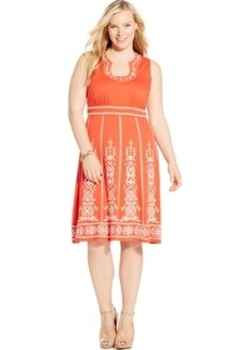 Inc International Concepts Plus Size Sleeveless Embroidered Dress