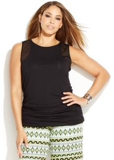 INC International Concepts Plus Size Sleeveless Illusion-Striped Top