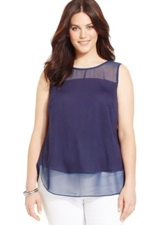 Inc International Concepts Plus Size Sleeveless Illusion Top