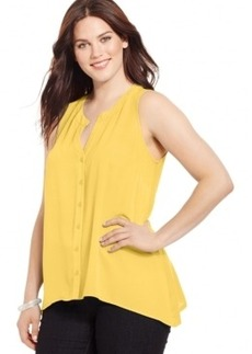Inc International Concepts Plus Size Sleeveless Knit-Back Shirt