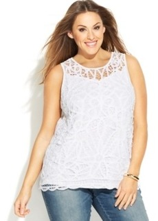INC International Concepts Plus Size Sleeveless Lace Top