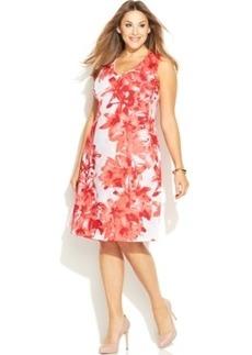 INC International Concepts Plus Size Sleeveless Printed A-Line Dress