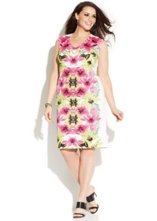 INC International Concepts Plus Size Sleeveless Printed Sheath Dress