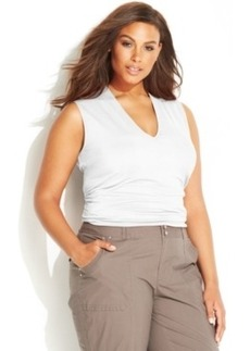 INC International Concepts Plus Size Sleeveless Ruched Top
