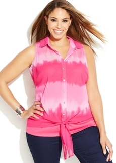 INC International Concepts Plus Size Sleeveless Tie-Dyed Tie-Front Shirt