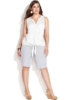 INC International Concepts Plus Size Sleeveless Tie-Front Button-Down Shirt