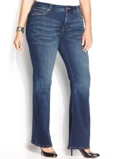 INC International Concepts Plus Size Slim Tech Fit Bootcut Jeans, Percy Wash
